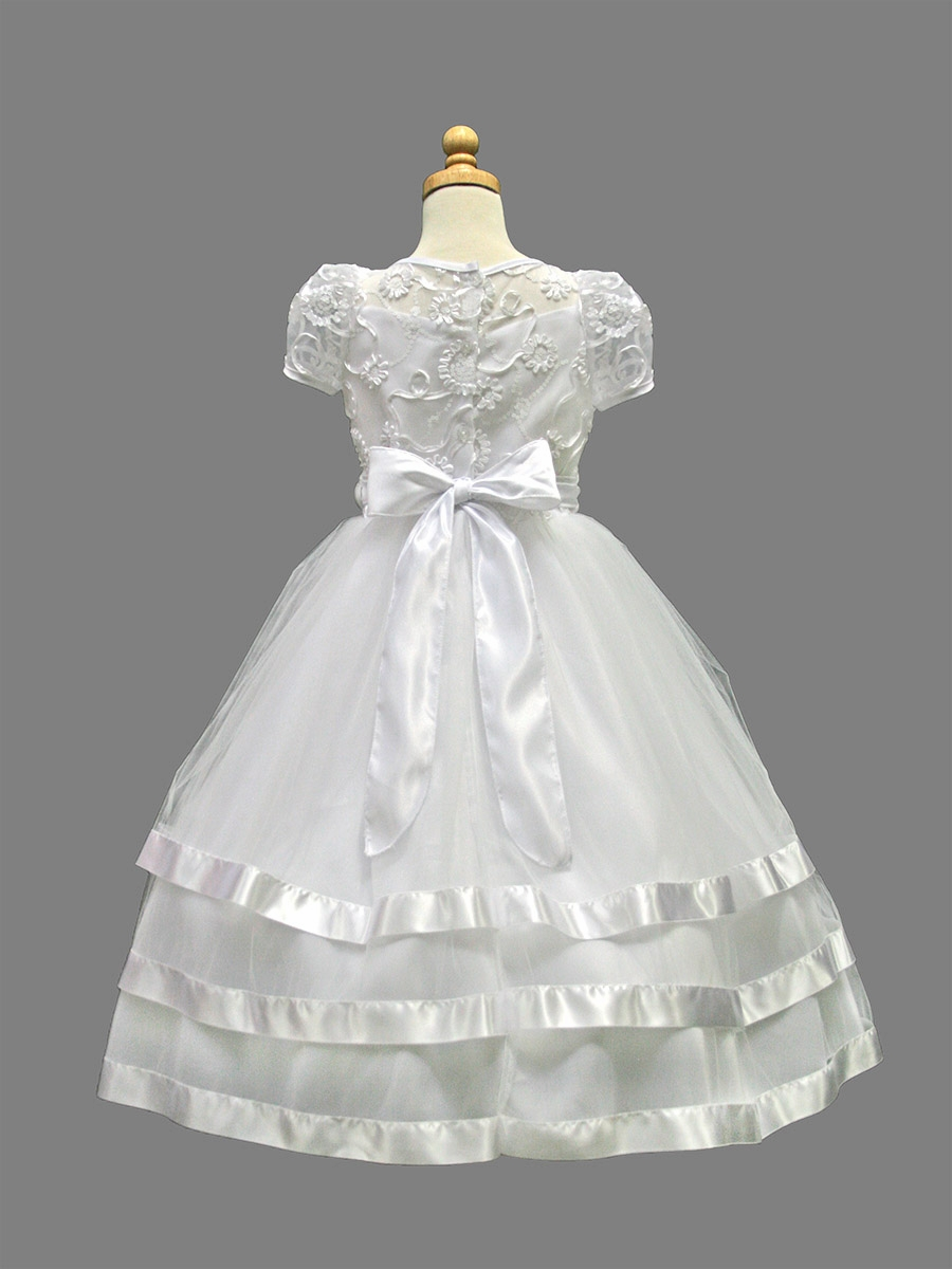 White ribbon trim embroidery dress w layered tulle skit
