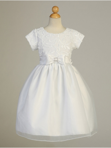 White Ribbon Tulle Communion Dress w/ Sleeves