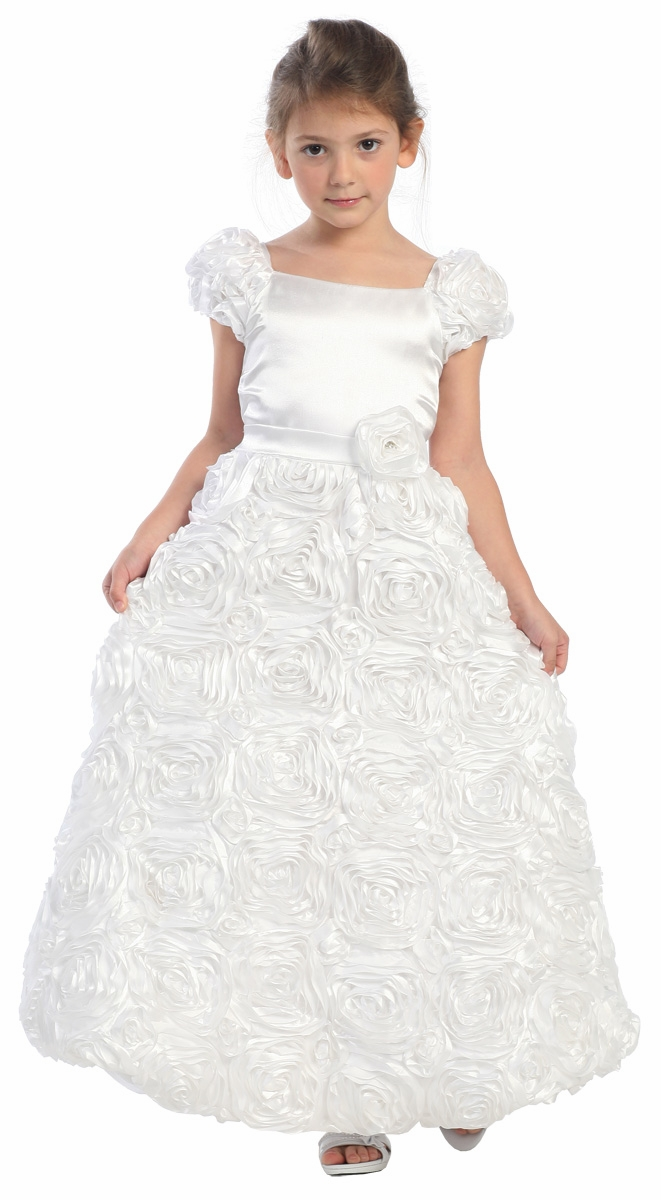 White Rose Patch Dress w/ Short Sleeves