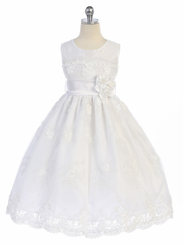 White Rosette Lace Overlay Dress