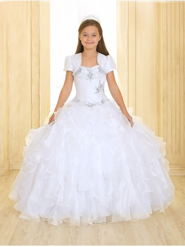 White Ruffle Pageant Dress w/ Jewel Embroidered Bodice & Bolero