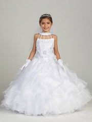 White Ruffled Communion Dress w/ Round High Neck & Birdcage Straps