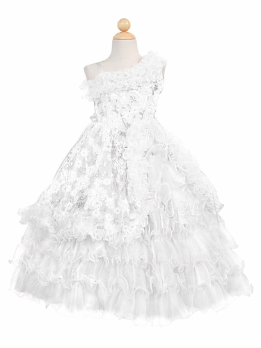 White Ruffled One Off Shoulder Bodice w/ Sequins Embroidery