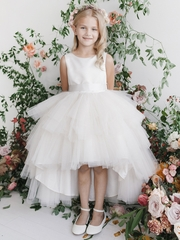 Tip Top Kids 5658 White Ruffled Tulle High Low Dress
