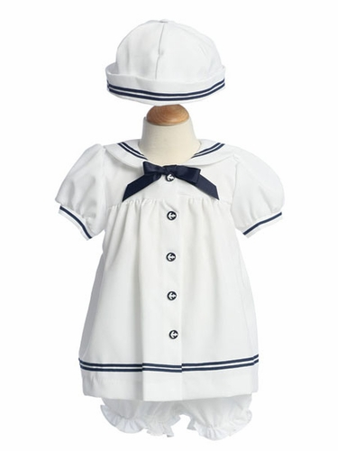 White/Navy Sailor Baby Dress w/ Bonnet