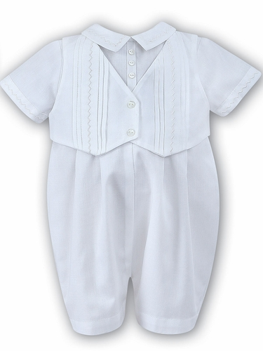 White Sarah Louise Christening Romper & Hat
