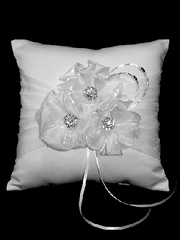 White Satin 3 Flower Ring Bearer Pillow