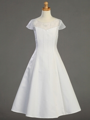 White Satin A-line Communion Dress w/ Beadwork
