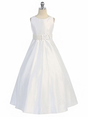White Satin A-Line Dress w/ Flowers & Beaded Waistline