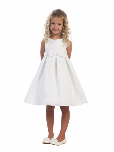 White Satin A-line Dress w/ Portrait Neck & Pleated Skirt