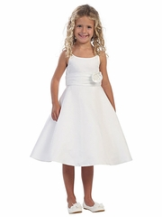 White Satin A-line Dress with Satin Roughing Waist
