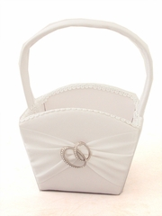 White Satin Basket w/ Two Rings
