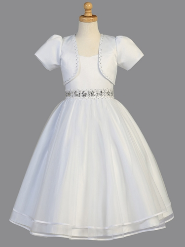 White Satin Beaded Communion Dress w/ Bolero