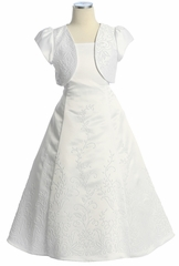 White Satin Beaded Dress w/ Bolero
