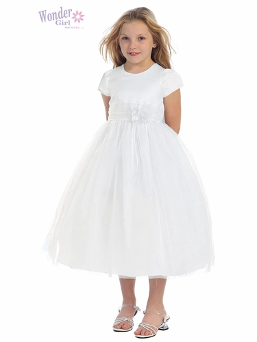 White Satin Bodice Dress w/ Tulle Skirt