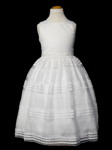 White Satin Bodice Embellished Mesh Dress