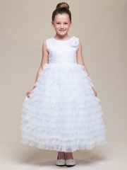 CLEARANCE - White Satin Bodice Layered Tulle Dress