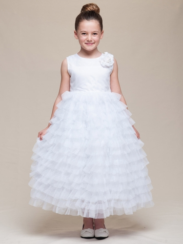 White Satin Bodice Layered Tulle Dress