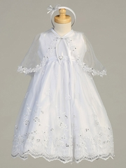 White Satin Bodice w/ Embroidered Organza Skirt & Cape