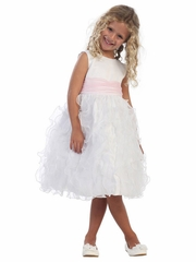 White Satin Bodice w/ Feather-Like Organza Frills on Skirt & Pink Sash