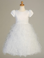 White Satin Bodice w/ Ruffled Organza Communion Dress