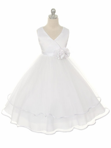 White Satin Bodice with Layered Tulle Skirt