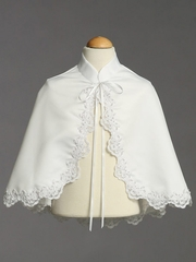 White Satin Cape w/ Lace Trim