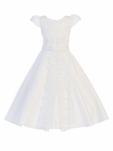 White Satin Communion Dress w/ Corded  Floral Lace Applique
