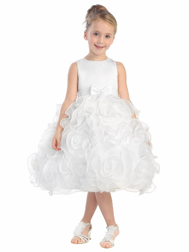 White Satin Dress w/ 3D Flower Skirt