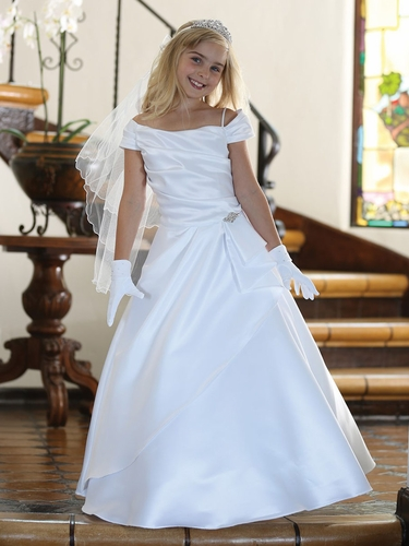 CLEARANCE - White Satin Dress w/ Draping & Off Shoulder Neckline