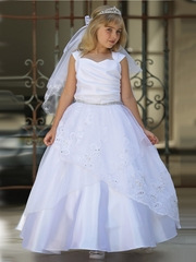 White Satin Dress w/ Embroidered Organza Overlay & Gathered Bodice