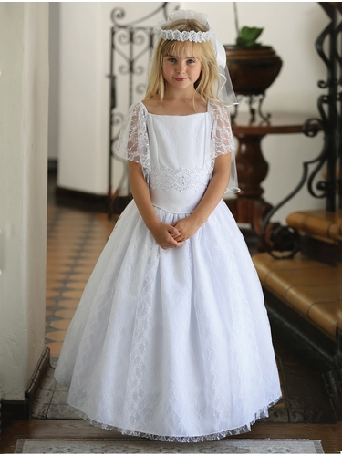 White Satin Dress w/ Lace Overlay & Flutter Sleeves