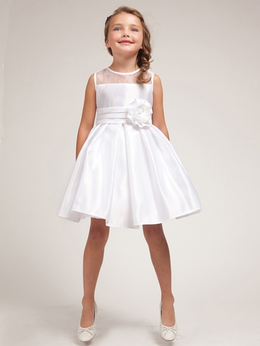 White Satin Dress w/Organza Trim Bodice