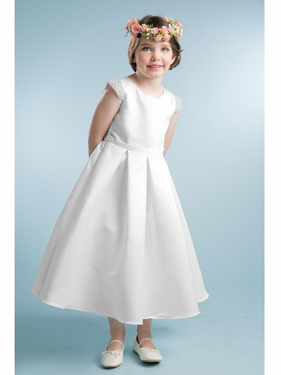 White Satin Dress W Pearl Cap Sleeve