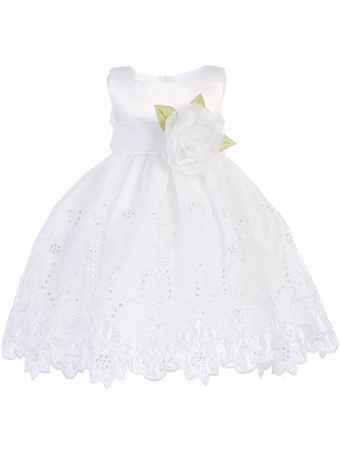 White Satin & Embroidered Organza Dress w/  Sash & Flower
