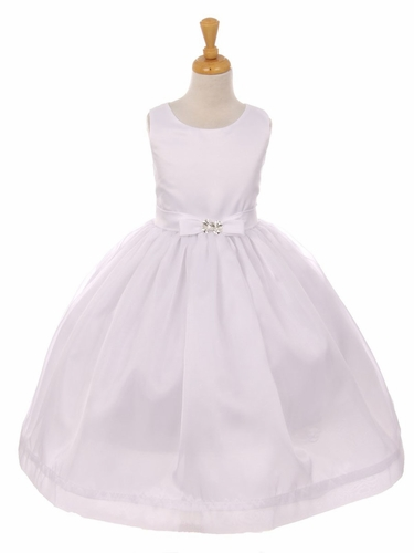White Satin & Flare Organza Bow Dress