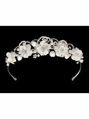 White Satin Floral Headpiece w/ Rhinestone & Pearls