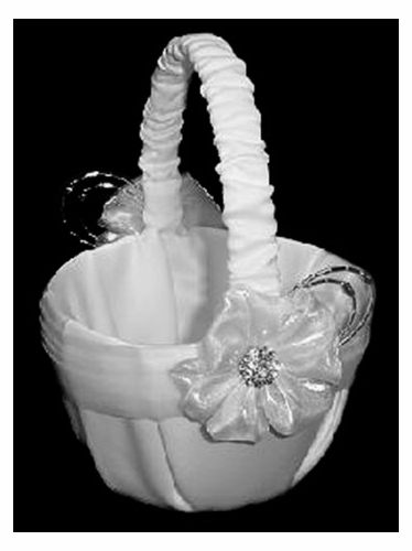 White Satin Flower Basket