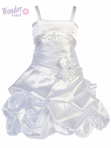 White Satin Gathered Dress w/ Rhinestones & Pleated Waistline