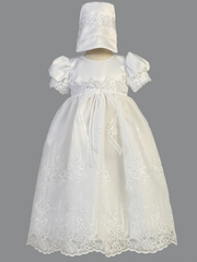 White Satin Gown w/ Embroidered Organza & Sequins