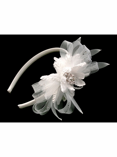 White Satin Headband w/ Pearl Flower