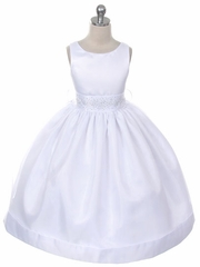 White Satin Organza Dress w/ Rhinestone Sash