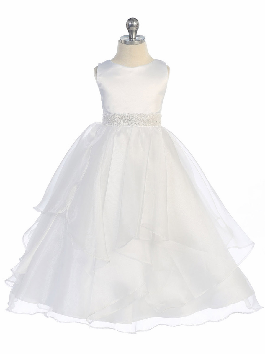 White Satin Organza Layered Dress