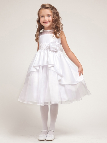 White Satin & Organza Layered  Dress w/Satin Bodice