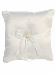 White Satin & Pearl Flowers Ring Bearer Pillow