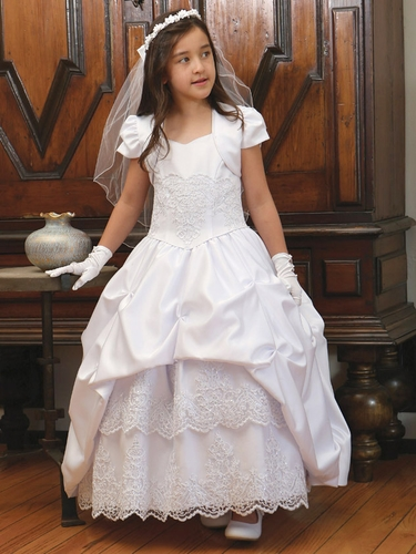 White Satin Pick Up Communion Dress