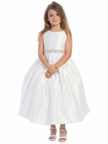 White Satin Pleated Skirt w/ Rhinestone Beaded Waistline Dress