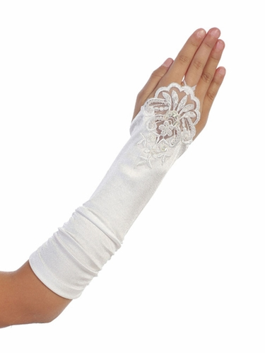 White Satin Ruched Fingerless Gloves