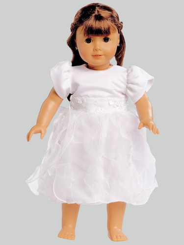 White Satin & Ruffled Organza Communion 18'' Doll Dress