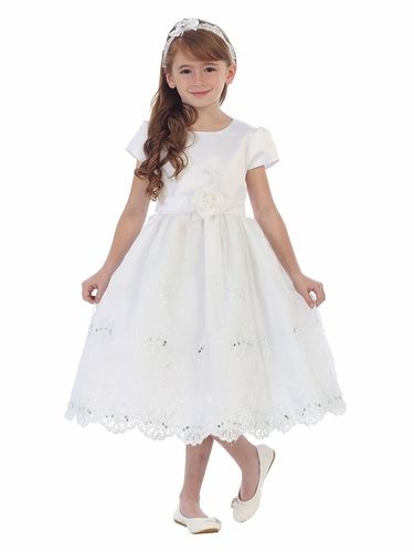 White Satin Short Sleeve Embroidered Dress